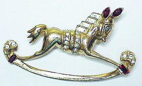 Coro Pegasus invisibly set rocking horse brooch