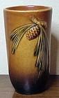 """Roseville """"Pine Cone"""" brown flat tumbler #414 -1931"""
