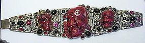 Selro red Noh Samurai warrior/devil face bracelet