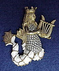 KJL (Kenneth J. Lane)  mermaid with Harp brooch