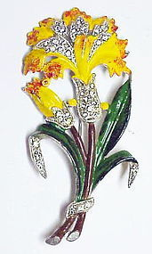Trifari KTF  enamel carnation brooch- yellow-unmarked