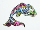 Coro metallic blue enamel fantail gold fish brooch