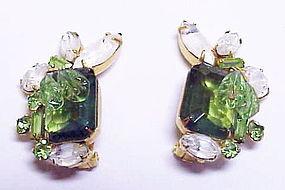 Carnegie emerald green & givre white rhinestone earring