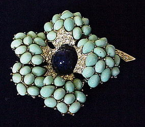 Boucher turquoise blue rhinestone lapis flower brooch