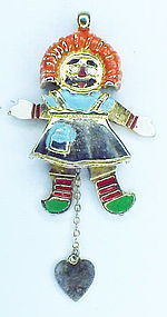 Hattie Carnegie Raggedy Ann Mechanical Pendant