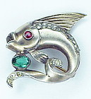 Reja sterling leaping fish with red eye brooch