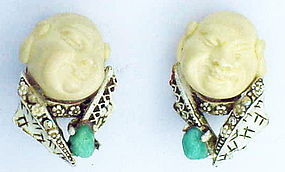Har white was laughing coolie man earrings