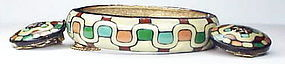 Eisenberg enamel bangle bracelet & earrings