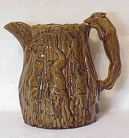 "19th C American Bennington Rockingham ""boar * stag hunt"" large pitcher"
