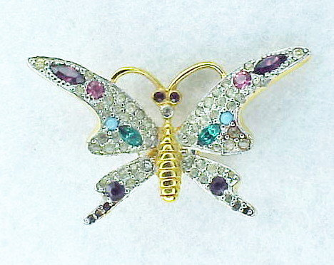 Jomaz multi color rhinestone butterfly brooch