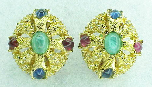 Ciner gold tone jewels of India earrings