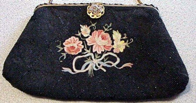 French Hand Beaded Embroidered Purse