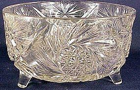 American Brilliant cut glass 3 footed fern bowl