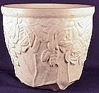 "McCoy 6 1/2"" white rose urn vase"