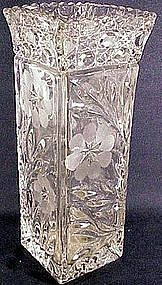 Floricut Marjorie square vase pressed & cut(U.S.Glass)
