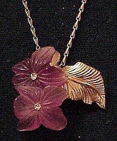 Christian Dior violet poured glass fowers necklace