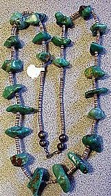 Turquoise Nugget Necklace: American Indian
