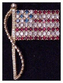 Rafaelian rhinestone stars and stripes flag pin