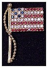 Rhinestone Stars & Stripes flag pin, Pole and Halyard
