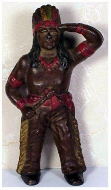 Hubley Indian with tomahawk cast iron still bank