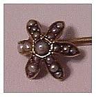 14K Victorian pearl star flower stickpin, scarf pin,