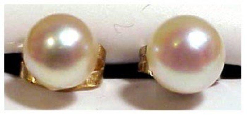 14K white gold pearl earrings