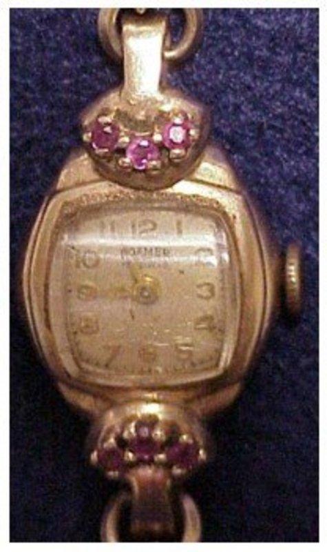 14K rose gold Roamer ruby lady's wristwatch