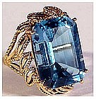 14K yellow gold 14+Cts blue topaz size 8 1/4