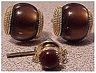 Swank Deco brown  designer cuff links, cufflinks & tie