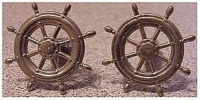 Ships Wheel cuff links / cufflinks silver tone