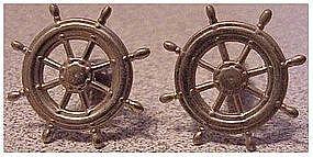 Ships Wheel cuff links / cufflinks silver tone