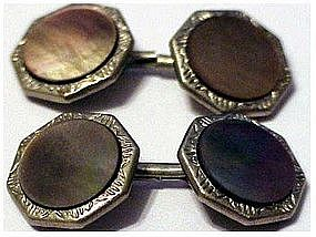 Hickok silver tone mother of pearl cuff links
