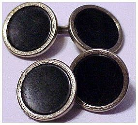Swank silver tone and onyx colored center cufflinks