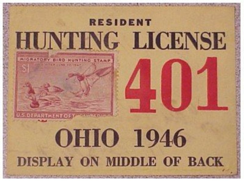 Ohio 1946 resident hunting  & trapping license