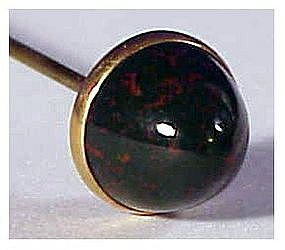 "14K late Victorian  bloodstone 7"" hat pin / hatpin"
