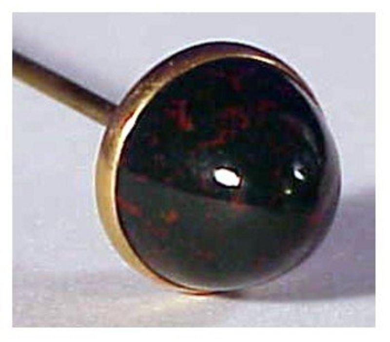 "14K late Victorian  bloodstone 7"" hat pin / hatpin"