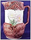 "Majolica floral & anchor pitcher (8.25"")-Victorian"