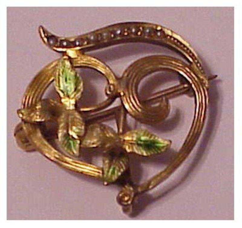 14K Art Nouveau seed pearl,enamel  pin with watch hook