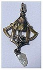 Art Nouveau lavalier with baroque blister  pearl drop