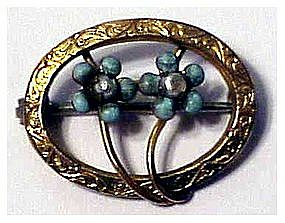 Art Nouveau Turquoise and pearl oval pin