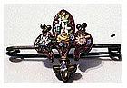 Florentine Fleur de Lis micro mosaic pin (ca. 1860)