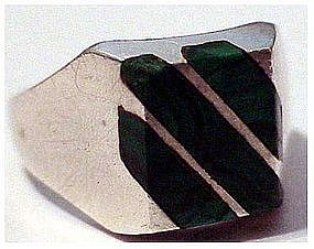 Mexican sterling malachite ring  size 8.75