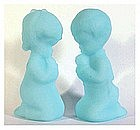 Fenton satin blue Praying Boy / Girl #5100