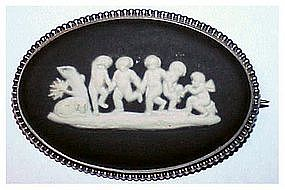 Wedgwood Black Jasperware Cameo Pin (Vintage)