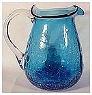 "Crackle glass 5 1/4"" blue pitcher (Pilgrim)"