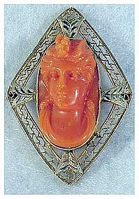 10K Victorian red coral cameo diamond shaped pin