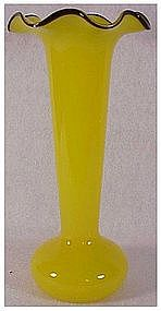 Czechoslovakia solid yellow vase with applied jet rim