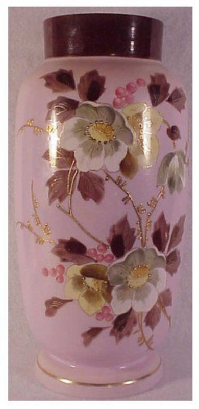 "Bohemian (Muhlhaus) 11 3/4"" hand painted pink vase"
