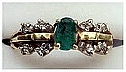 14K 1/2 cts Emerald and diamond ring (size 6 1/2)