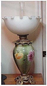 P & G # 13 Hand Painted kerosene table lamp & shade